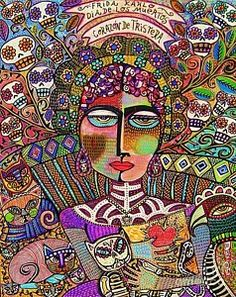 Painting - Day Of The Dead - Heart Of Sorrow - Frida Kahlo - Silberzweig Original Painting - 24 X 30 Inch  by Sandra Silberzweig