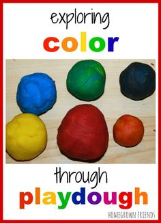 "What a fantastic way to teach your youngsters about #color #texture #size #shape #FineMotor #KidsActivities WOW! All in one:  ""Exploring Color Through Playdough"" - Includes #homemade #playdough #recipe  via the fantastic #HomegrownFriends #blog #follow #learning #educationalgames #childsplay #kids learning indoor activities with color experimentation! #KidsArt #art"