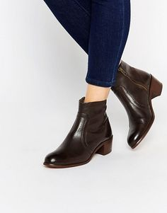 H By Hudson   Plath Zip Heeled Leather Ankle Boots