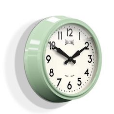 Newgate Clocks Cream Large Wall Clock: This iconic design clock has a metal case with a gloss finish, clean modern Arabic dial and a glass lens. Electric Clock, Barn Light Electric, Green Electric, 1950s Wall Clock, 1950s Home Decor, Vintage House Plans, 1950s House, Barn Lighting, Decorative Accessories