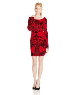 Derek Heart Juniors Jacquard Sweater Dress, Red, Large
