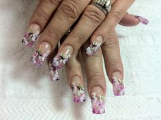 One stroke flower nails design