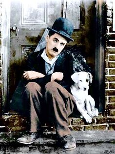 "Charlie Chaplin and ""Scraps"" in ""A Dog's Life"" - colourised photo Charlie Chaplin, Charles Spencer Chaplin, Tier Fotos, Silent Film, Art Pictures, Comedians, Movie Stars, Actors, History"