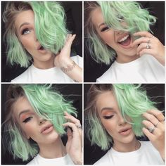 Tips for Styling Short Hair Mint Green Hair, Mint Hair, Pastel Hair, Purple Hair, Short Dyed Hair, Short Hair Cuts, Short Hair Styles, Short Wavy, Color Menta