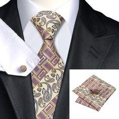 Подарочный галстук белокурый с фиолетовыми и кремовыми абстракциями  - купить в Киеве и Украине по недорогой цене, интернет-магазин