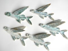 Ceramic Flyingfish Wall Hanging Fish Sculpture