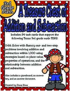 Includes 24 task cards that support the following Texas 3rd grade math TEKS:3.4A Solve with fluency one- and two-step problems involving addition and subtraction within 1,000 using strategies based on place value, properties of operations, and the relationship between addition and subtraction.Also includes a gameboard, an answer document, and an answer key.