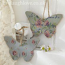 Script & Rosebud Hanging Butterflys-Pair