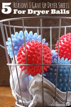 """Frugal idea for your laundry...""""5 Reasons I Gave Up Dryer Sheets For Dryer Balls. I have been using dryer balls for 4 years and love them. Will never go back to dryer sheets!"""""""