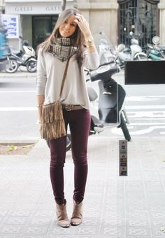 colored jeans! love the scarf and bag, too