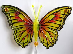 BUTTERFLY Yellow Charms,Beaded Prism,Crystal Beads,Cubicle Decor,Get Well Gift #Handmade