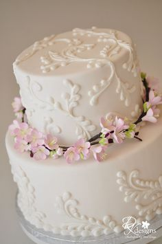A client recently contacted me and asked if I could create cherry blossom branches for her 3 tier cake. She had purchased a custom bird cake...