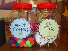 """Quiet Critters go on childrens desks for them to take home when they are being quiet during work time.    On task has crazy straws with labels that say """"You were caught being crazy good"""" to be given when children are being good or on task"""