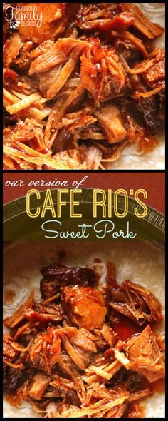 This Cafe Rio Sweet Pork Copycat Recipe is the real deal. The pork is marinated and slow-cooked to perfection in some surprising ingredients! #sweetpork #pork #recipe #caferio