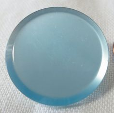 3 Blue plastic buttons. Pearly look self by ButtonsAndTreasures