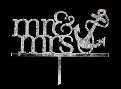 Swarovski Crystal Mr & Mrs with Anchor Nautical Cake Topper