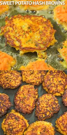 only 4 ingredients, these Sweet Potato Hash Browns are easy to make and very delicious. Learn how to make perfect hash browns with my step-by-step photo and video instructions. If you try this recipe, please, share some photos! I always check them! Sweet Potato Recipes, Vegetable Recipes, Baby Food Recipes, Vegetarian Recipes, Cooking Recipes, Healthy Recipes, Potato Hash Recipe, Drink Recipes, Tasty Videos