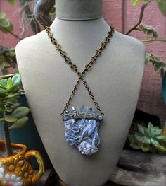 LARGE Aura Quartz Necklace  Wiccan Jewelry  by MermaidTearsDesigns