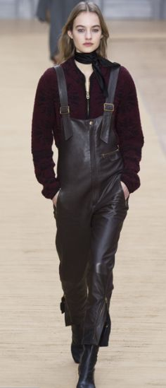 Shop now. Chloé Zip-Front Leather Overalls. Chloé's buttery soft leather overalls in brown-black are a versatile update to classic black and a standout piece from the FW16 collection. Finished with brass front and ankle zippers and adjustable shoulder straps for ease and comfort, echo the runway styling at Chloé and slip over a textured knit.