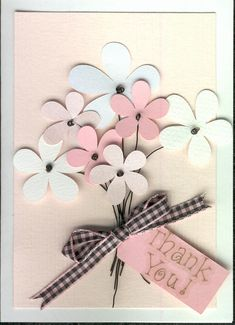 Thank you Card. Love the simplicity of the flower shapes and use of wire for stamens and stem. Cute Cards, Diy Cards, Thank U Cards, Scrapbook Cards, Scrapbooking, Silhouette Cameo, Creative Cards, Flower Cards, Greeting Cards Handmade