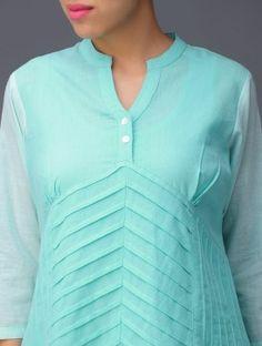 Turquoise Front-Pleat Cotton Kurta Salwar Designs, Kurti Neck Designs, Kurti Designs Party Wear, Blouse Designs, Indian Attire, Indian Outfits, Kurta Patterns, Dress Cuts, Embellished Dress