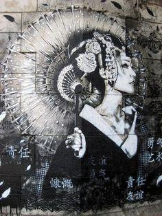 art, asian, black, blackandwhite, drawing, flowers, geisha, kimono, portrait, street, street art, umbrella, white, woman