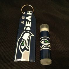 Seahawks Duct Tape Chapstick Holder Keychain by OffTheWallDuctTape