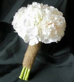White Hydrangea and White Peony Bridal Bouquet with Burlap Wrap, Matching Bridemaids Bouquets, Wedding Flower Package. $95.00, via Etsy.