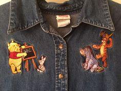 Vtg The Disney Store Women's  XL Winnie The Pooh Tigger Denim Jumper Dress Jean #TheDisneyStore #Jumper #Casual #VINTAGEDISNEY