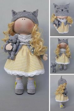 Tilda doll Bambole Puppen Yellow doll Art doll Poupée Handmade