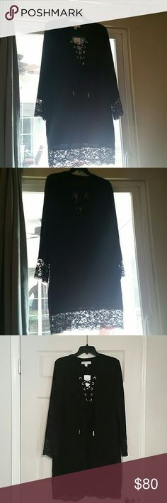Beautiful Michael Kors LBD Black dress with lace detail on sleeves and hem Michael Kors Dresses Long Sleeve