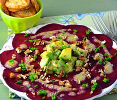 beet carpaccio salad with avocado and chia seed dressing