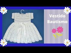 Crochet Girls Dress Pattern, Baby Dress Patterns, Girls Christening Dress, Baby Dress Tutorials, Girls Pinafore Dress, Crochet Toddler, Beautiful Crochet, Baby Knitting, Toddler Dress