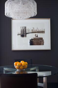 Sydne Summer's West Hollywood Home // home decor // dark paint // glass table // dining area // brooklyn bridge // Photography by Monica