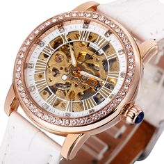 17.09$  Buy here - http://alil2a.shopchina.info/go.php?t=32772256756 - 2016 SH Fashion Elegant Women Mechanical Wrist Watches Leather Watchband Female Automatic Clock Crystal Decoration Skeleton Dial  #shopstyle