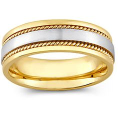 14k Two-tone Gold Men's Rope Detail Comfort Fit Wedding Band (8 mm) | Overstock™ Shopping - Big Discounts on Men's Rings