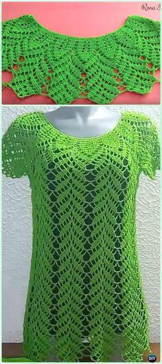 Crochet Leaf / Bunny Ear Stitch Lace Top Blouse Free Pattern Video -
