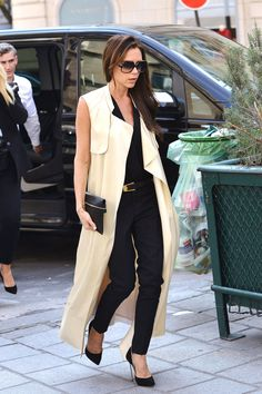Victoria Beckham classy long coat,trousers and heels street style