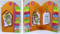 Frances Byrne using the Pop it Ups Tags Pivot Card die set by Karen Burniston for Elizabeth Craft Designs. - Happy Birthday