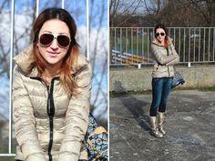Zara Jacket, Giorgio Armani Sunglasses, Zara Jeans,  Philosophy Blues Original Snow Boots
