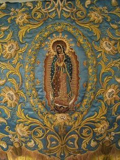 """signorcasaubon: """" Detail of an estandarte, or processional banner, for Our Lady of Guadalupe; design and execution by Vincent Canlas of Nuevo Siglo """" Divine Mother, Blessed Mother Mary, Blessed Virgin Mary, Religious Images, Religious Icons, Religious Art, Madonna, Catholic Religion, Catholic Art"""
