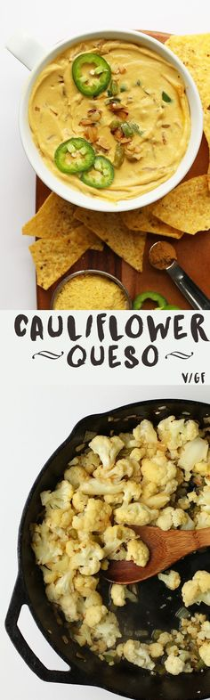 This Vegan Cauliflower Queso Dip is made with sautéed cauliflower, raw cashews, and nutritional yeast for a delicious and healthy plant-based alternative to the traditional dairy queso. Vegan Sauces, Raw Vegan Recipes, Healthy Diet Recipes, Vegan Foods, Vegan Vegetarian, Mexican Food Recipes, Whole Food Recipes, Vegetarian Recipes, Healthy Eating