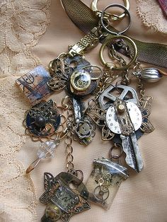 "altered key by ""T""eresa, - key chains, steampunk, salvage art"