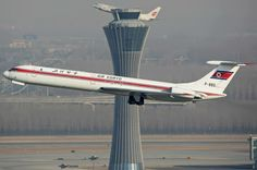 Air Koryo Ilyushin IL62 departing Beijing with an Air China Boeing 737