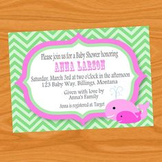 Whale Baby Shower or Child's Birthday Invitation DIY Printable By Decorable Designs