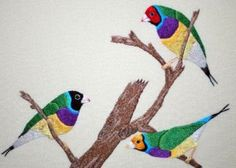 Margaret Read's Thread Painting 4  Gouldian Finches-001