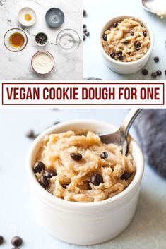 Vegan Cookie Dough For One - 5 minutes, 6 ingredients! The easiest, healthiest cookie dough you'll ever make! #vegan #cookiedough