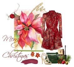 """""""Poinsettia"""" by sweet-bird-singing ❤ liked on Polyvore featuring Urban Decay, Bling Jewelry, MAC Cosmetics, Yves Saint Laurent, Mario Valentino, Caparros, Denim & Supply by Ralph Lauren, Christmas, navidad and poinsettia"""