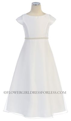 SK_411 - Girls Dress Style 411- WHITE Cap Sleeve Satin and Organza Dress - First Communion Dresses - Flower Girl Dress For Less $50 at this site