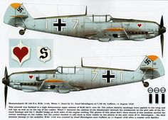 Messerschmitt Bf 109E3 7.JG26 (W7+I) Josef Burschgens WNr 1159 France 11th Aug 1940-Kagero top colors .